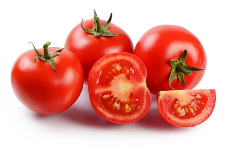 Red fresh tomatoes isolated on white background 스톡 콘텐츠