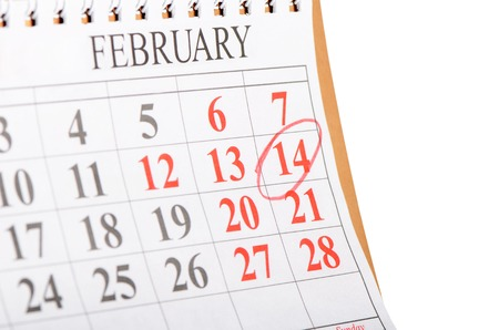 st  valentine: The calendar with St. Valentine date isolated