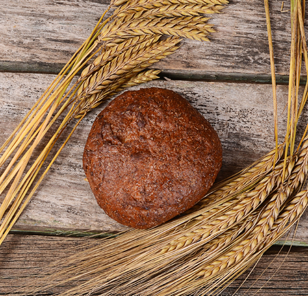 stalk: The fresh bread with ears a rye Stock Photo