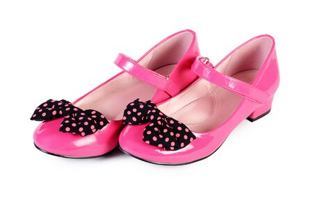 pink shoes: Womans pink shoes isolated on white background Stock Photo