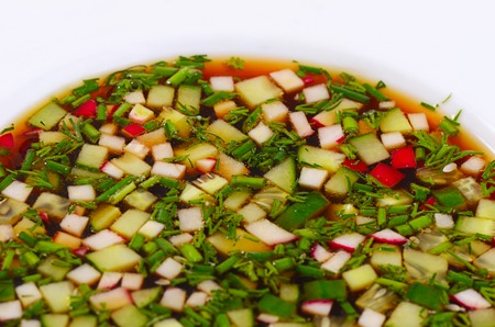 cold soup: The okroshka from fresh vegetables. Cold soup.