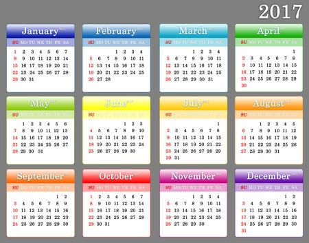 The a template of 2017 colorful calendar