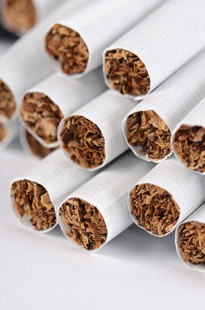 Close-up of Tobacco Cigarettes Background or texture Stock Photo