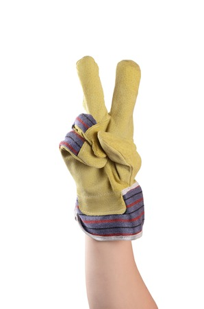 clench: Working mens gloves isolated on white background