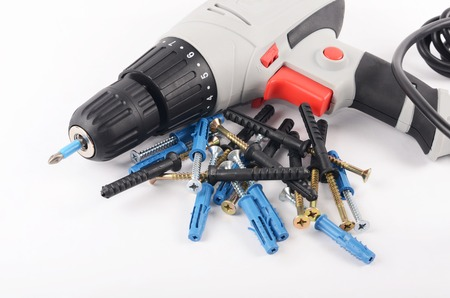 The new screwdriver with screws close up