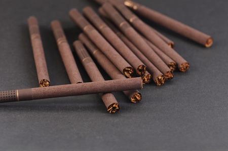 Close-up of Tobacco Cigarettes Background or texture Archivio Fotografico