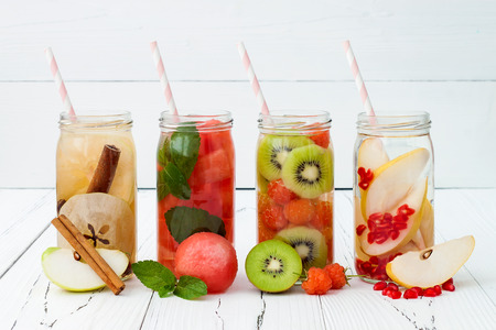 Detox fruit infused flavored water. Refreshing summer homemade cocktail. Clean eating Stock fotó