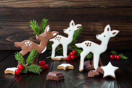 baby deer: Christmas holiday gingerbread baby deer or fawn cookies