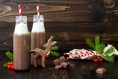 glass bottle: Hot chocolate with whipped cream in old-fashioned retro bottles with red striped straws. Christmas holiday drink and gingerbread baby deer or fawn cookies. Free text copy space