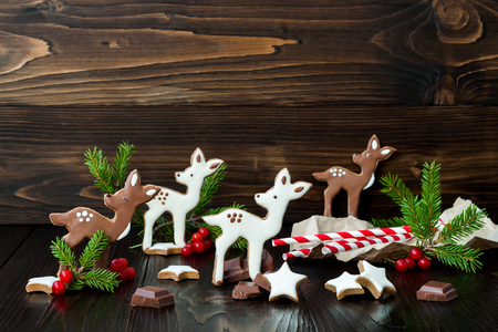 baby deer: Christmas holiday gingerbread baby deer or fawn cookies. Free text copy space