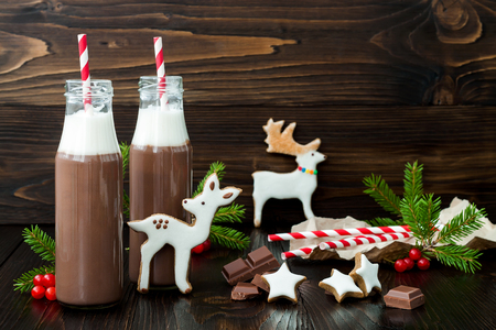 cookies and cream: Hot chocolate with whipped cream in old-fashioned retro bottles with red striped straws. Christmas holiday drink and gingerbread baby deer or fawn cookies. Free text copy space