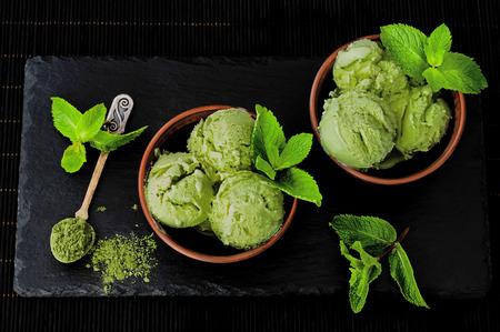 Green tea matcha mint ice cream with coconut milk
