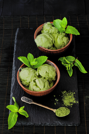 Green tea matcha mint ice cream with coconut milk