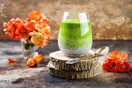 Detox ombre layered matcha green tea chia seed pudding. Vegan dessert with coconut milk. Healthy vegetarian breakfast, dieting, weight loss food Stock Photo