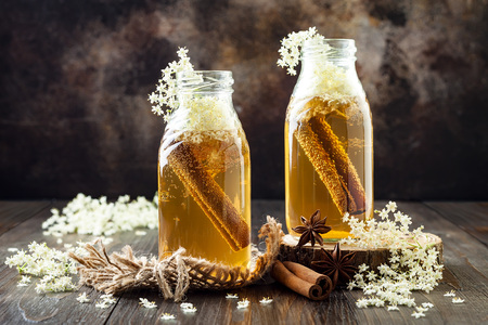 Homemade fermented cinnamon and ginger kombucha tea infused with elderflower. Healthy natural probiotic flavored drink Фото со стока