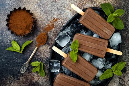 채식주의 자 바나나 초콜렛 박하 퍼지 아이스크림