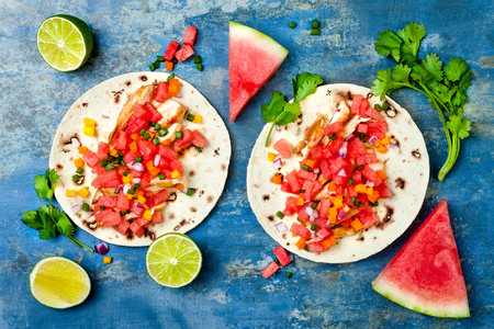 gallo: Mexican grilled chicken tacos with watermelon salsa