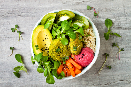 Middle eastern style Buddha bowl with green falafel, quinoa, butternut squash, tomatoes, avocado, beetroot hummus, micro greens and tahini sauce. Banco de Imagens