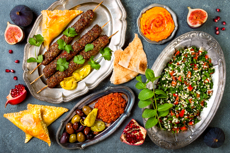 Middle Eastern traditional dinner. Authentic arab cuisine. Meze party food. Top view, flat lay, overhead Reklamní fotografie - 90456835