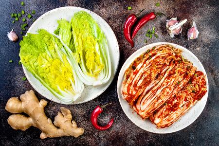 Preparing cabbage kimchi. Korean traditional cuisine. Fermented food.