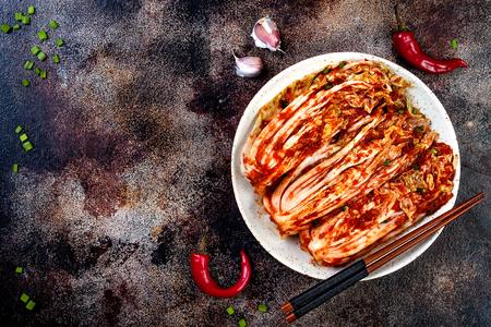 Preparing cabbage kimchi. Korean traditional cuisine. Fermented food. Copy space