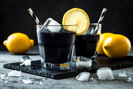 Detox activated charcoal black lemonade.