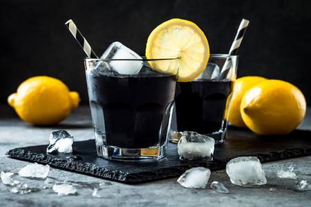 Detox activated charcoal black lemonade.