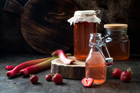 Homemade fermented strawberry and rhubarb kombucha. Healthy natural probiotic flavored drink. Copy space Imagens