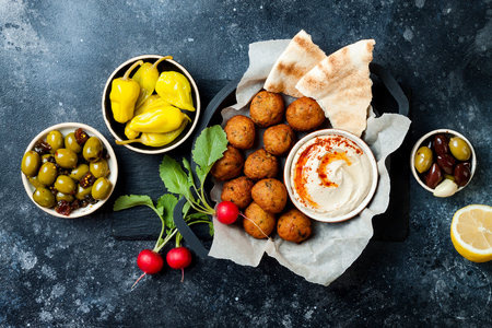 Middle Eastern traditional dinner. Authentic arab cuisine. Stock Photo