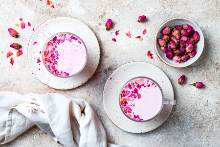 Pink Moon Milk for a better sleep, midnight relaxing drink Stock Photo