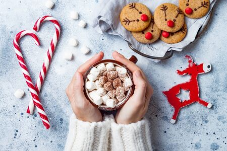 Hot cocoa with marshmallow in in woman hand. Christmas gingerbread, decorated red nosed reindeer cookies. Festive homemade decorated sweets Stock fotó