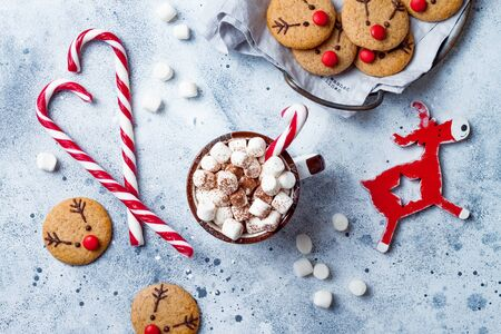 Hot cocoa with marshmallow in ceramic mug surrounded by Christmas gingerbread. Decorated red nosed reindeer cookies. Festive homemade decorated sweets