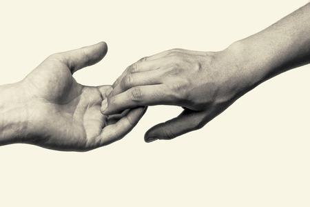 honestidad: Dos manos (amantes de toque de despedida) Foto de archivo