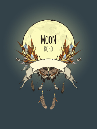 moonlit: Hand-drawn card templates for your design with a composition of the elements Boho (branches with crystals, feathers, arrows, etc.) on the background of the full moon, moonlit