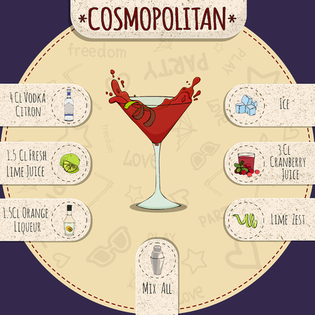 cosmopolitan: Stock popular alcoholic cocktail Cosmopolitan with a detailed recipe and ingredients in a series of world best cocktails