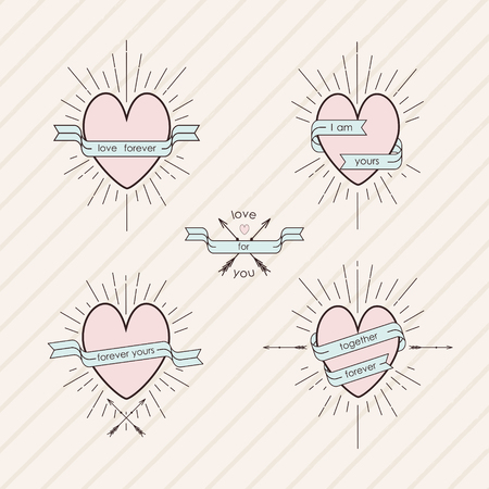 love declarations: Set of design elements in vintage style with declarations of love Illustration