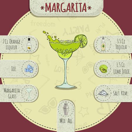Stock populaire alcoholische cocktail Margarita met een gedetailleerd recept en de ingrediënten in een reeks van de wereld beste cocktails Stock Illustratie