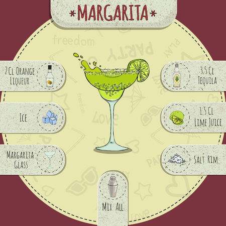 Stock popular alcoholic cocktail Margarita with a detailed recipe and ingredients in a series of world best cocktails Illustration