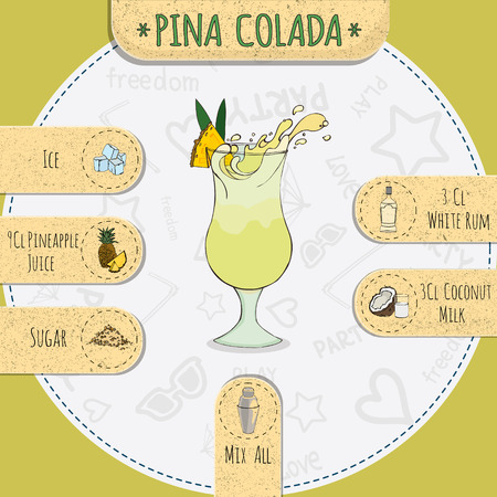 pina colada: Stock popular alcoholic cocktail Pina colada with a detailed recipe and ingredients in a series of world best cocktails