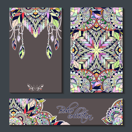 special events: Vector set templates in boho style for special events. Can be used as invitations, greeting cards, graphic designs, greeting banner Illustration