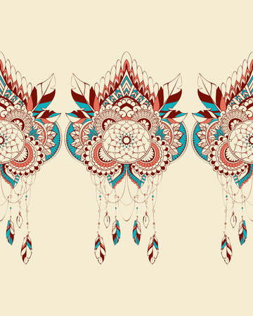 symbol traditional: Vector seamless background with dream catchers ornamental colorful Illustration