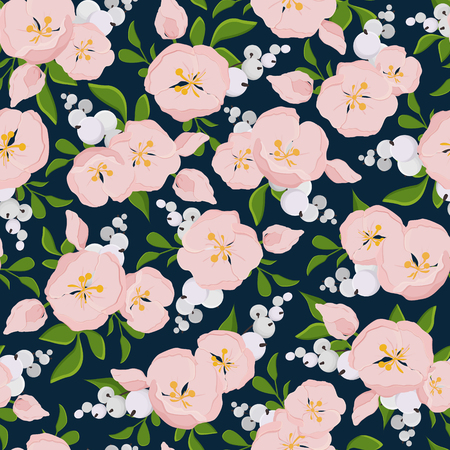 blue berry: seamless floral pattern of delicate pink flowers with branches snow berry on a dark blue background
