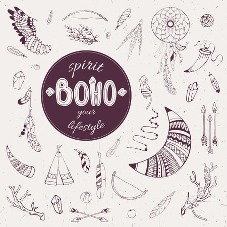 wigwam: Vector set of hand-drawn elements Boho for design. Items for hunting, household and decoration:  wigwam, arrows, feathers, crystals, dream catcher  etc.