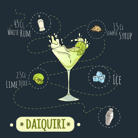 daiquiri: Stock popular alcoholic cocktail Daiquiri with a detailed recipe and ingredients in a series of world best cocktails Illustration