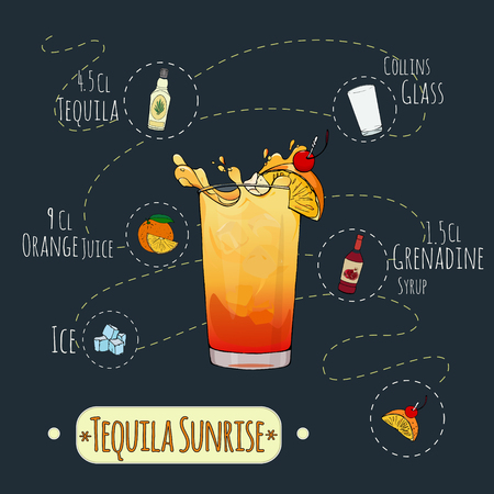 menu elements: Stock popular alcoholic cocktail Tequila sunrise with a detailed recipe and ingredients in a series of world best cocktails