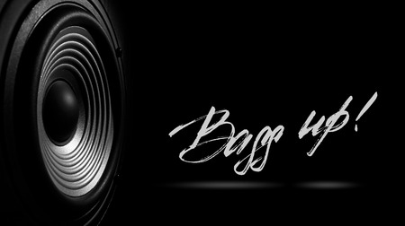 black and white image of a membrane sound speaker isolated on a black background with text