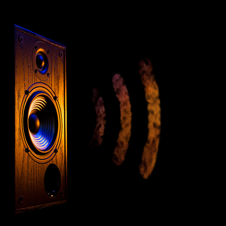 audiophile: audio speaker illuminated in blue and orange on a black background isolated