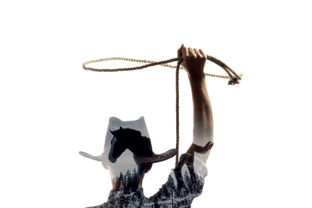Silhouette of a girl with a lasso with the effect of multiple exposure Reklamní fotografie