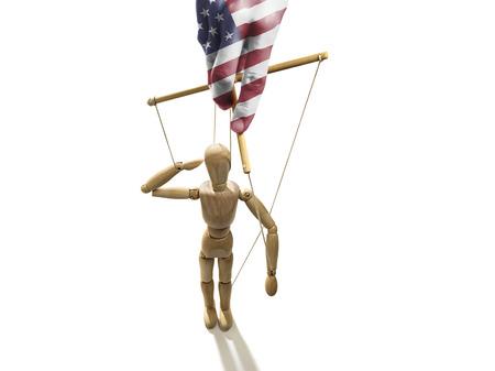 marioneta de madera: Pintado a mano en los colores de la bandera de Estados Unidos manipula la marioneta Foto de archivo
