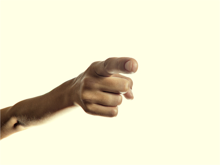forefinger: Isolated image of the forefinger pointing at you, hand you a directional finger